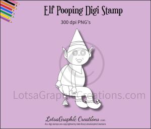 elf pooping digi stamp