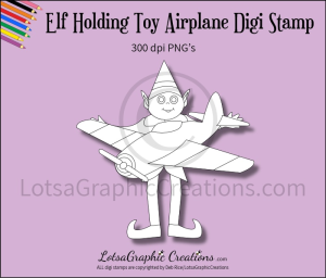elf holding toy airplane digi stamp