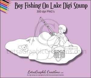 boy fishing on lake digi stamp