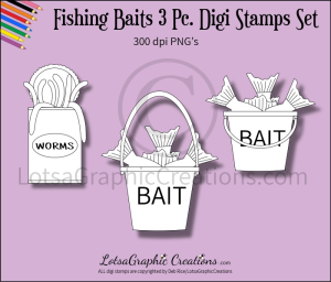 fishing baits 3 pc. digi stamps set
