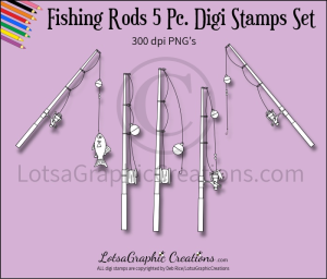fishing rods 5 pc. digi stamps set