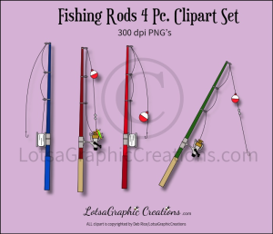 fishing rods 4 pc. clipart set