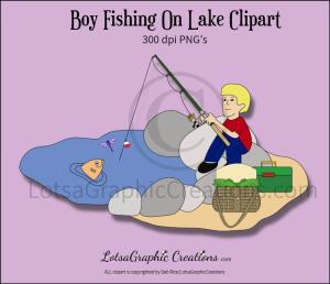 boy fishing on lake clipart