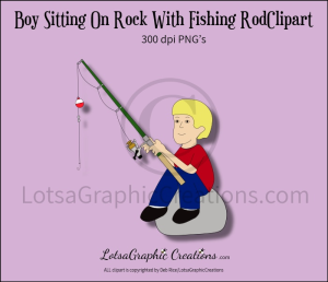 Boy Sitting On Rock With Fishing Rod Clipart   Other Files   Clip Art