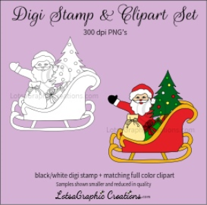 santa in sleigh digi stamp & clipart set for craft projects, scrapbooking & more
