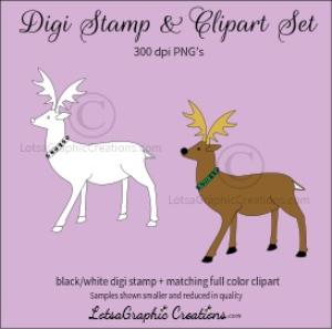 reindeer 1 digi stamp & clipart set for craft projects, scrapbooking & more