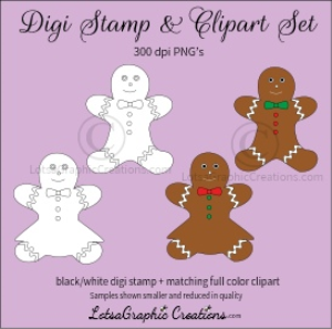 gingerbread boy & girl digi stamp & clipart set for craft projects, scrapbooking & more