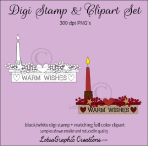 warm wishes shelf digi stamp & clipart set for craft projects, scrapbooking & more
