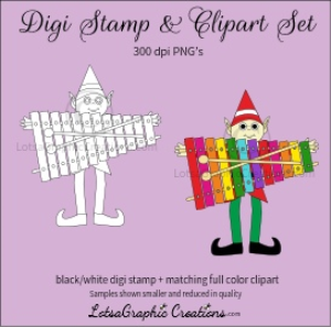 elf holding xylophone digi stamp & clipart set for craft projects, scrapbooking & more