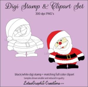 santa 1 digi stamp & clipart set for craft projects, scrapbooking & more