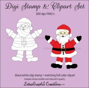 santa 2 digi stamp & clipart set for craft projects, scrapbooking & more