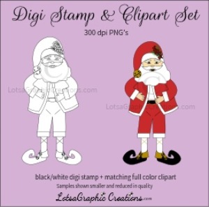 santa 3 digi stamp & clipart set for craft projects, scrapbooking & more
