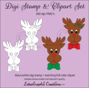 reindeer boy & girl heads digi stamp & clipart set for craft projects, scrapbooking & more