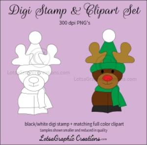 reindeer 2 digi stamp & clipart set for craft projects, scrapbooking & more