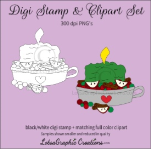 christmas candle with potpourri digi stamp & clipart set for craft projects, scrapbooking & more