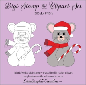 christmas mouse digi stamp & clipart set for craft projects, scrapbooking & more