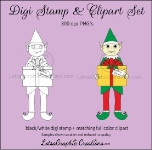 elf holding gift box digi stamp & clipart set for craft projects, scrapbooking & more