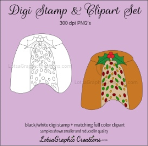 christmas fruitcake digi stamp & clipart set for craft projects, scrapbooking & more