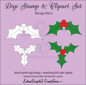 holly digi stamp & clipart set for craft projects, scrapbooking & more