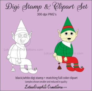 elf pooping digi stamp & clipart set for craft projects, scrapbooking & more