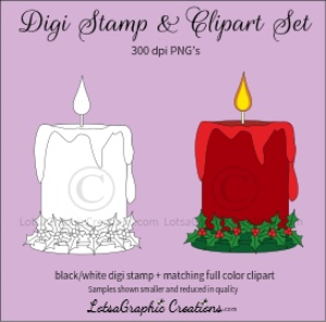 christmas candle with holly ring digi stamp & clipart set for craft projects, scrapbooking & more
