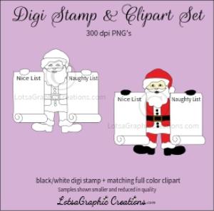 santa holding naughty & nice lists digi stamp & clipart set