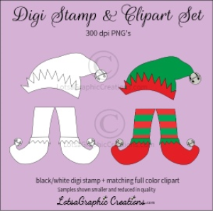 elf hat & legs digi stamp & clipart set for craft projects, scrapbooking & more
