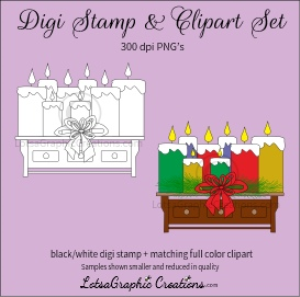 christmas candles on shelf digi stamp & clipart set for craft projects, scrapbooking & more