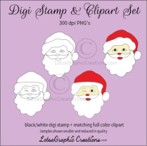 santa heads digi stamp & clipart set for craft projects, scrapbooking & more