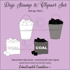 coal digi stamp & clipart set for craft projects, scrapbooking & more
