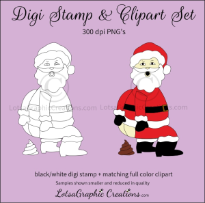 santa pooping digi stamp & clipart set for craft projects, scrapbooking & more