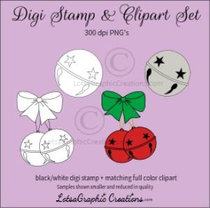jingle bells digi stamp & clipart set for craft projects, scrapbooking & more