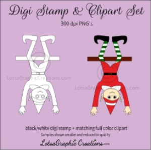 elf hanging upside down digi stamp & clipart set for craft projects, scrapbooking & more