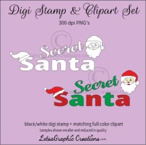 secret santa words digi stamp & clipart set for craft projects, scrapbooking & more