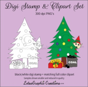 elf hiding behind christmas tree digi stamp & clipart set for craft projects, scrapbooking & more
