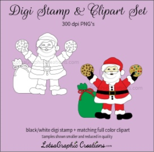 santa holding cookies digi stamp & clipart set for craft projects, scrapbooking & more