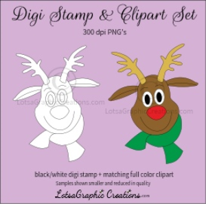 reindeer head 1 digi stamp & clipart set for craft projects, scrapbooking & more