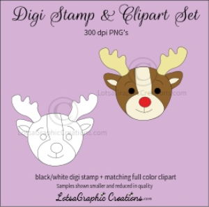 reindeer head 2 digi stamp & clipart set for craft projects, scrapbooking & more