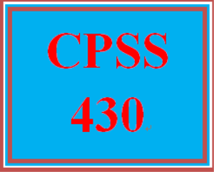 cpss 430 wk 3 - personal experience paper