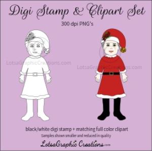 mrs. santa digi stamp & clipart set for craft projects, scrapbooking & more