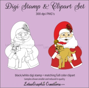 santa holding puppy digi stamp & clipart set for craft projects, scrapbooking & more