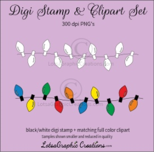 christmas lights string digi stamp & clipart set for craft projects, scrapbooking & more