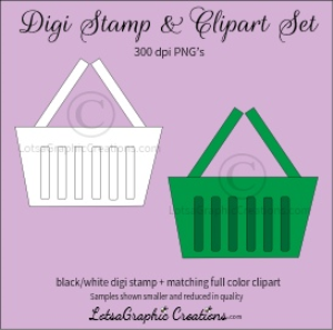 grocery shopping basket digi stamp & clipart set for craft projects, scrapbooking & more