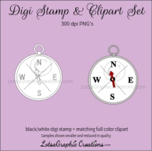 compass digi stamp & clipart set for craft projects, scrapbooking & more