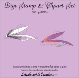 fly fishing lure digi stamp & clipart set for craft projects, scrapbooking & more