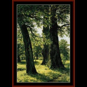 oaks - shishkin cross stitch pattern by cross stitch collectibles