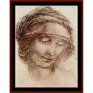 study of a woman - davinci cross stitch pattern by cross stitch collectibles