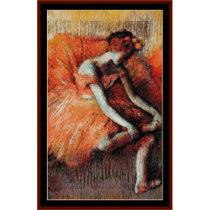 adjusting her shoe - degas cross stitch pattern by cross stitch collectibles