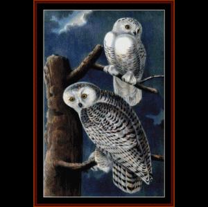 snowy owls ii - wildlife cross stitch pattern by cross stitch collectibles