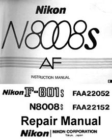 nikon n8008s f801s repair manual & instruction manual